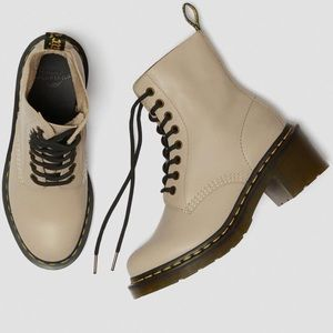 DR. MARTENS CLEMENCY LEATHER HEELED LACE UP BOOTS